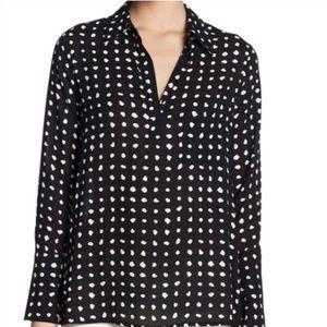 NEW Pleione Black White Polka Dot Shirt Top M